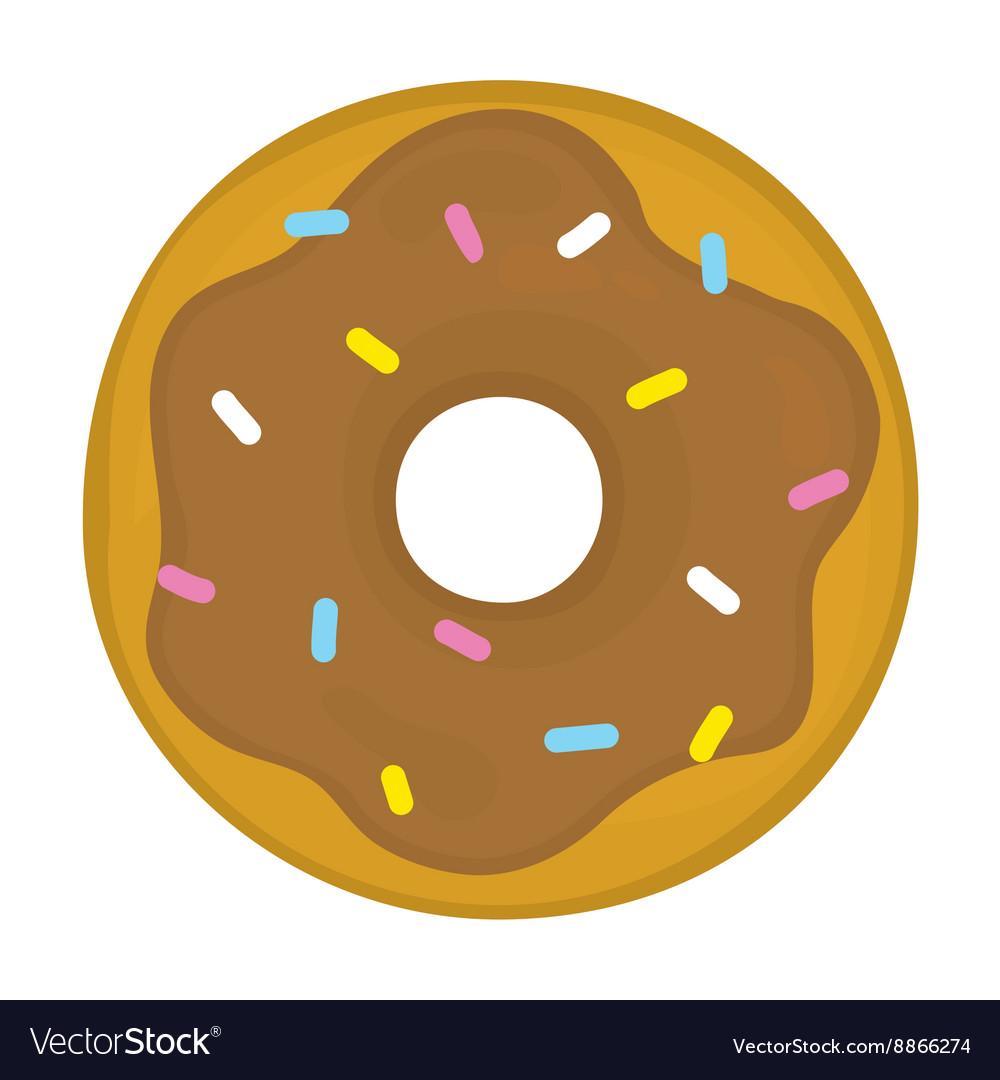 Chocolate glazed donut cartoon