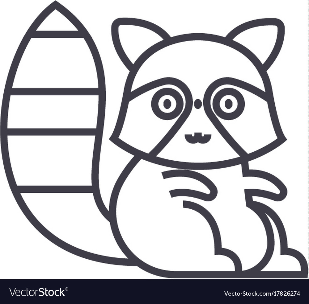Cute badger line icon sign