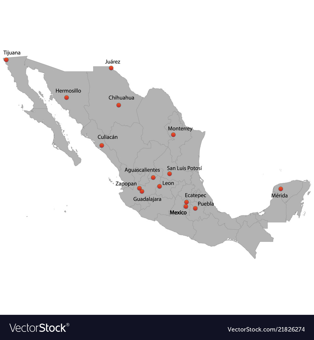 Detailed map of the mexico
