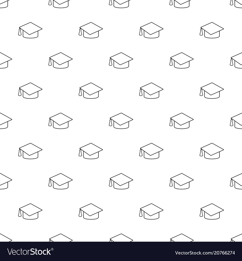 graduation cap pattern seamless royalty free vector image