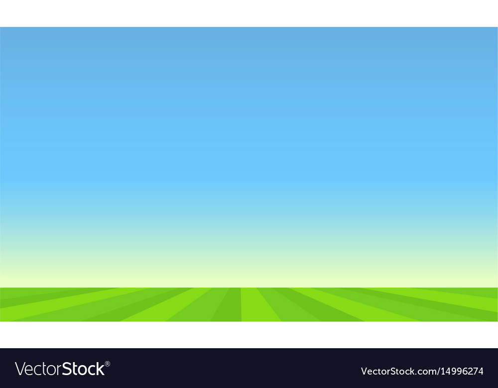 Green pasture and blue sunny sky
