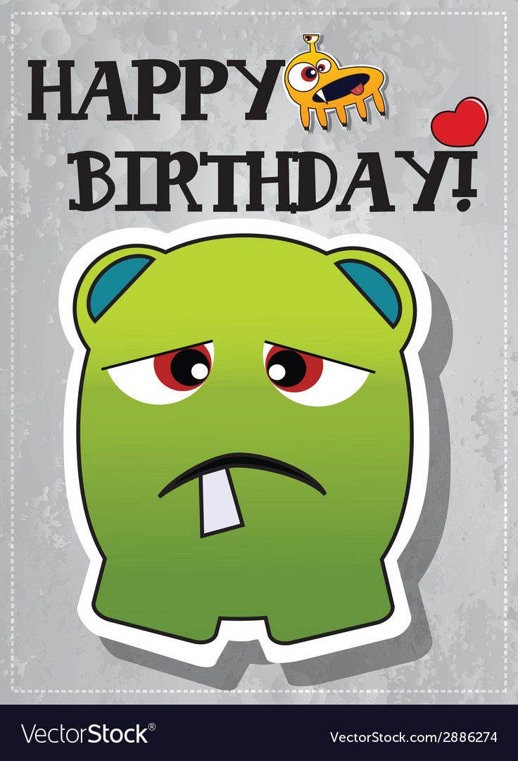 Happy birthday card with cute monster