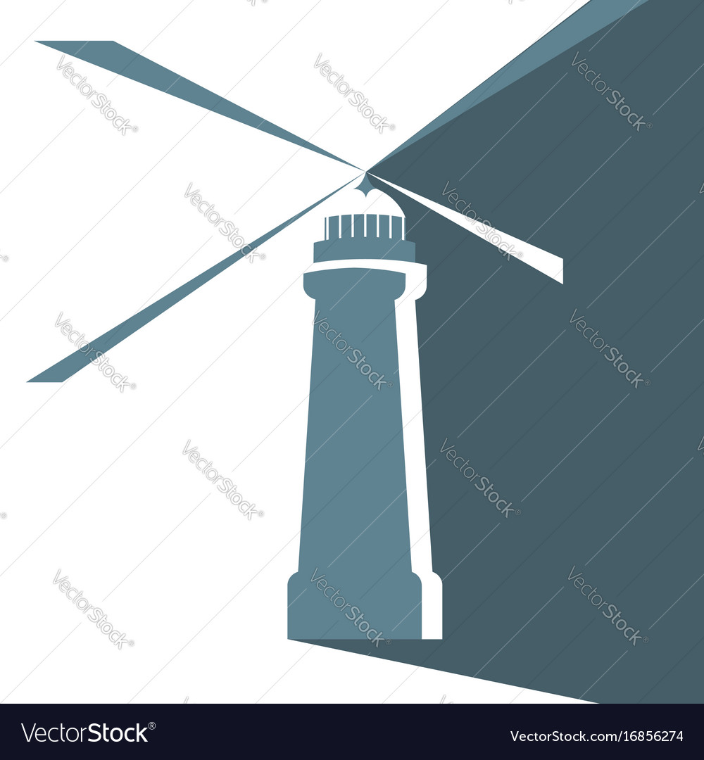 Lighthouse signal beams searchlight vector image