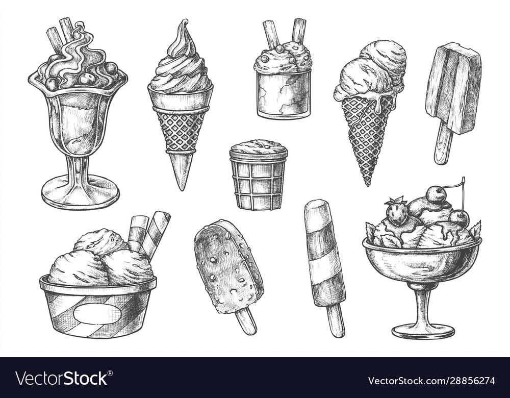 Set isolated ice cream sketch ice-cream