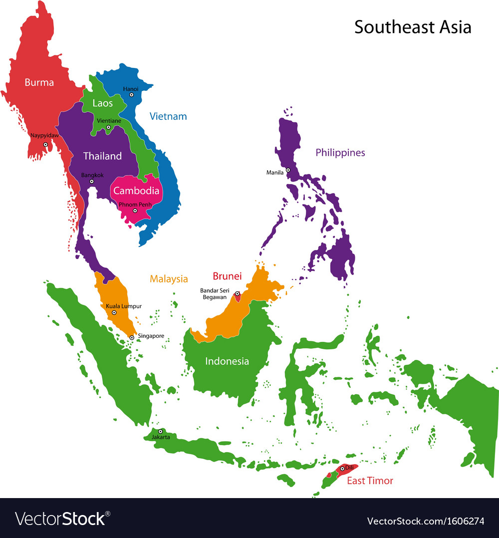 southeastern asia map royalty free vector image