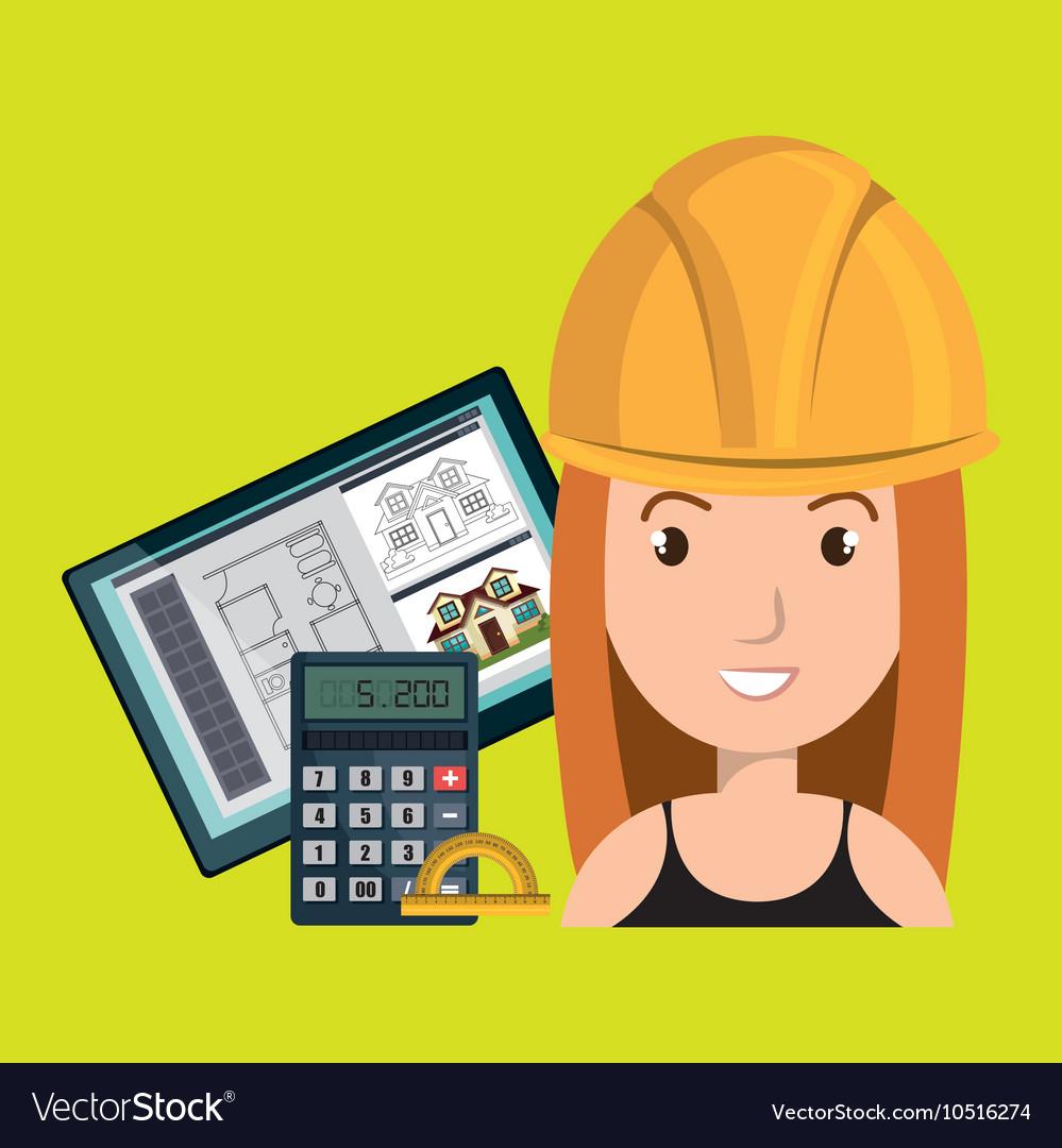 Woman architect protractor