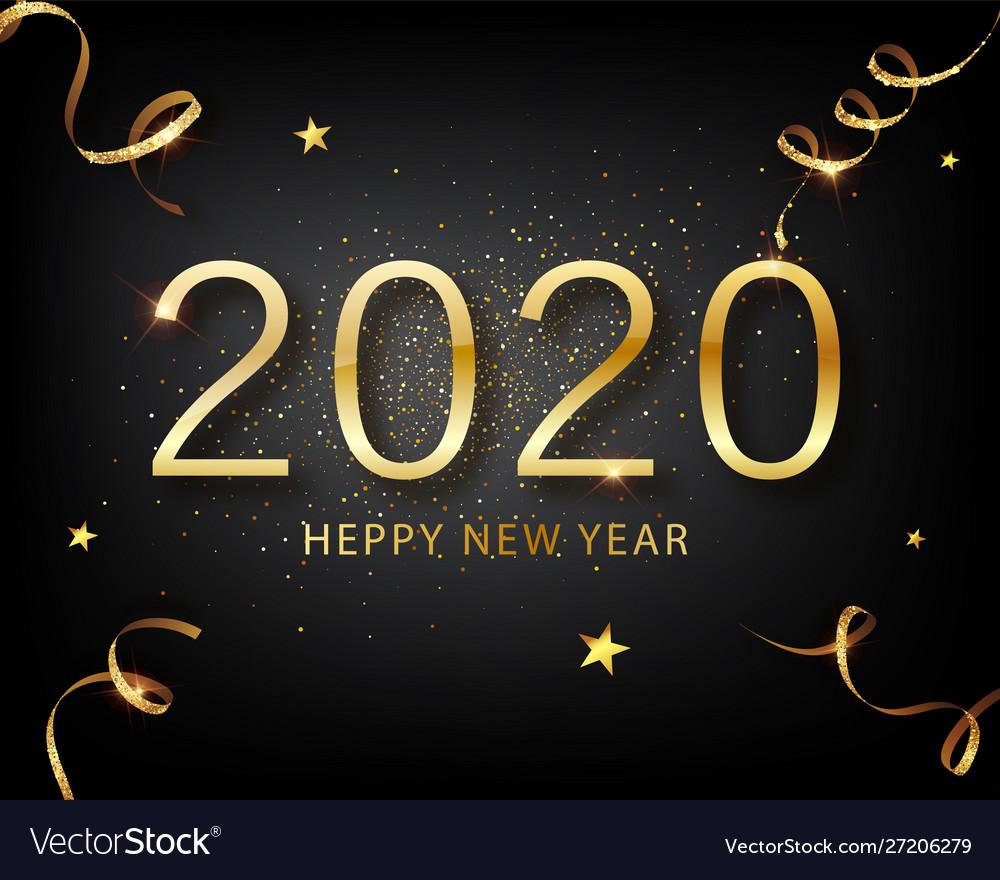 2020 golden luxury text happy new year