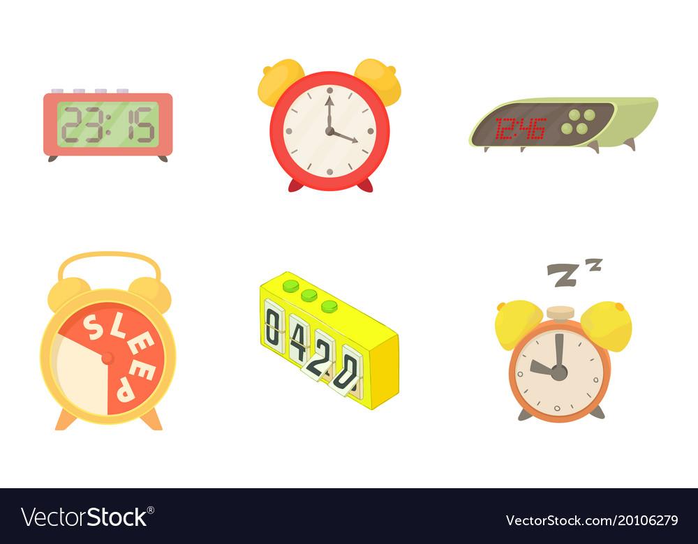 Alarm clock icon set cartoon style vector image