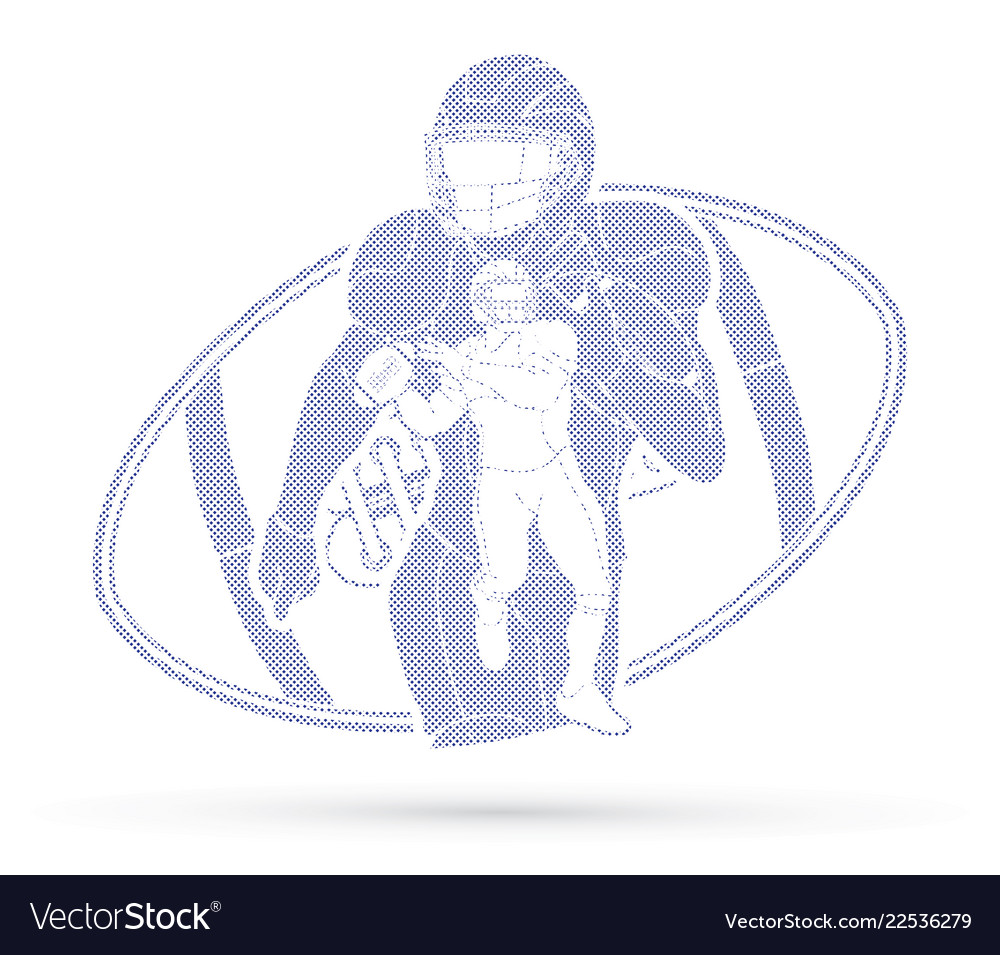 American Football Player Sportsman Action Sport Vector Image