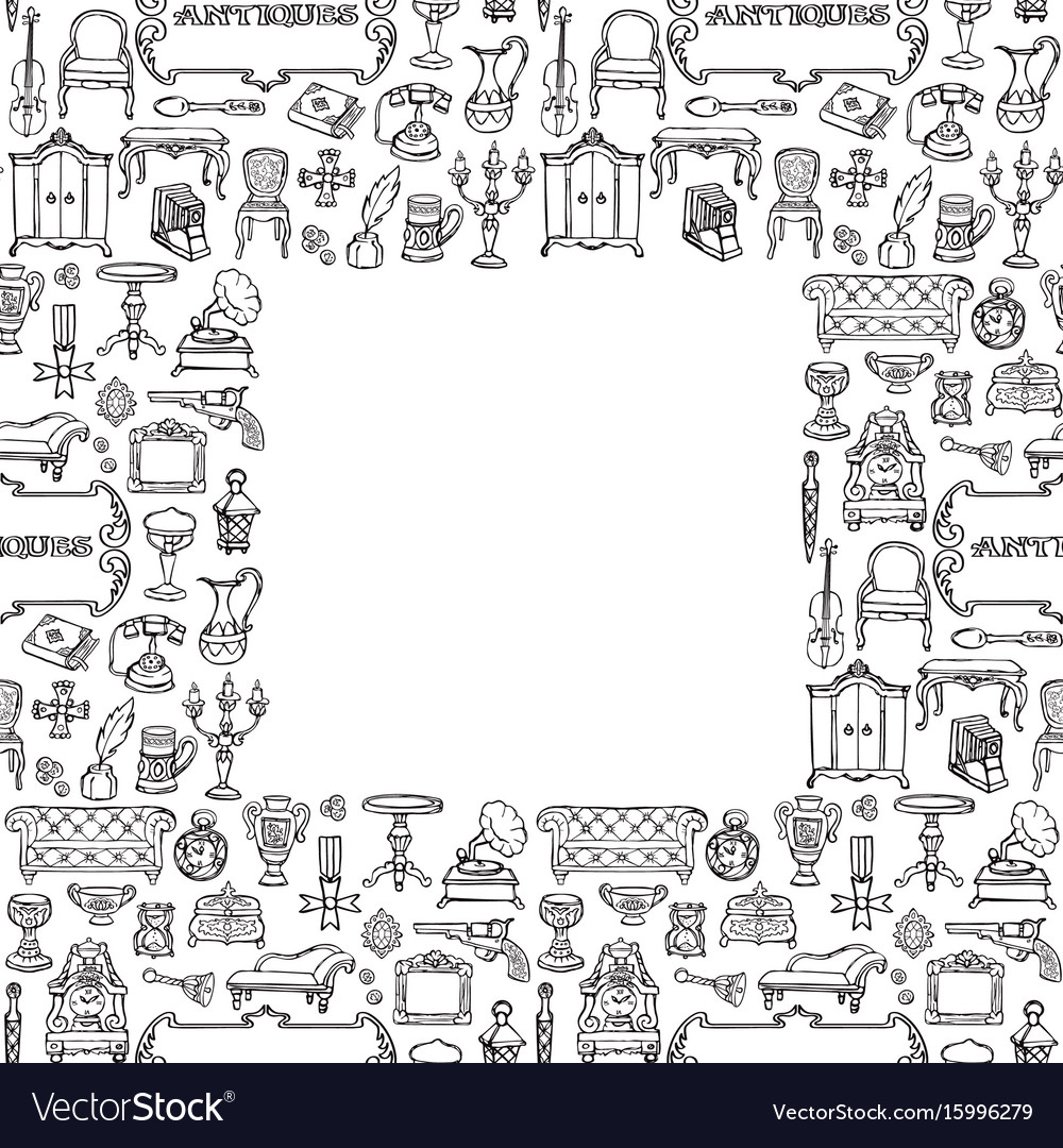 Antiques doodle seamless frame vector image
