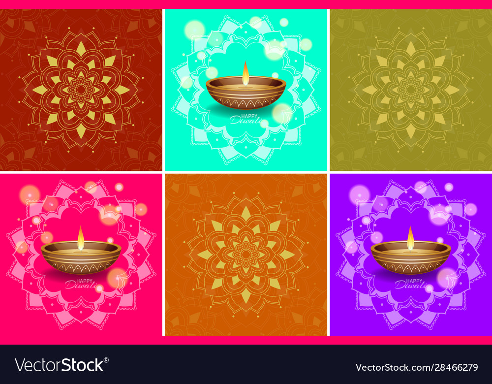 Background Template With Mandala Designs Vector Image
