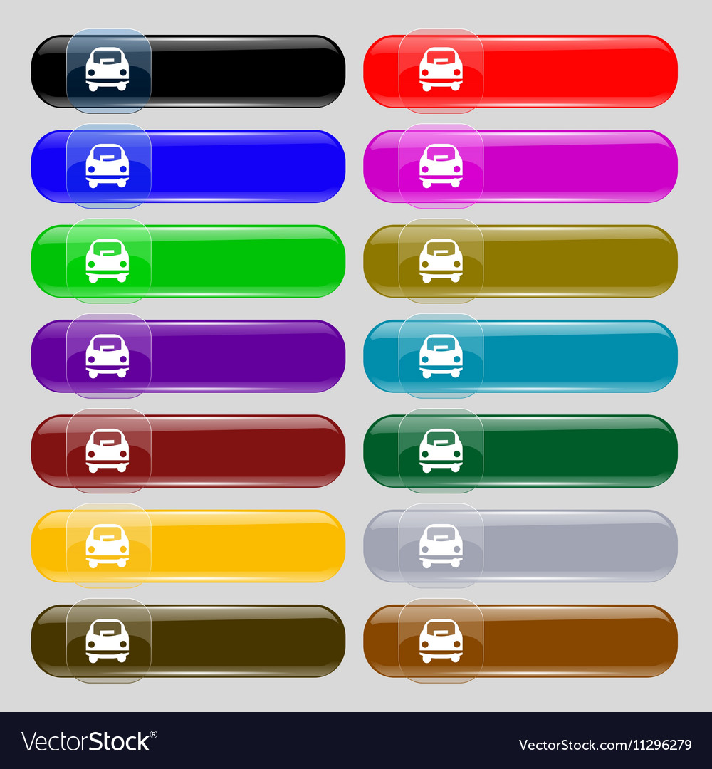 Car icon sign Set from fourteen multi-colored