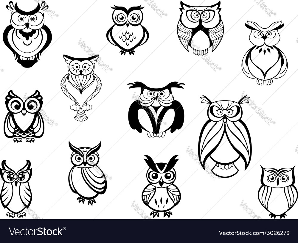 f056e78ee Cute owls and owlets Royalty Free Vector Image
