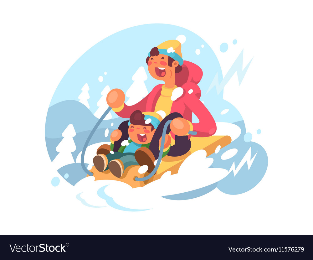 Dad and son sledding