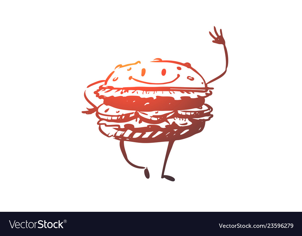 Hamburger beef meal fast food eat concept