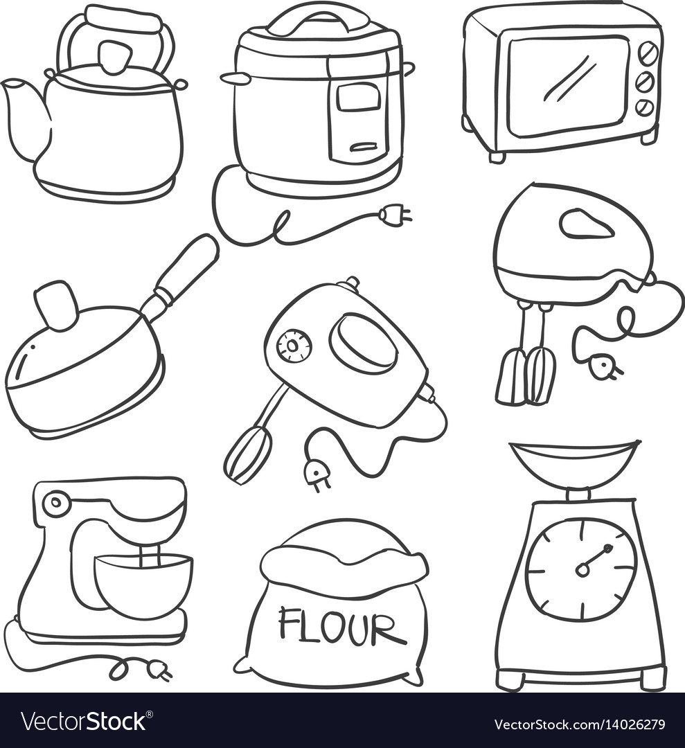 Kitchen Set Hand Draw Royalty Free Vector Image