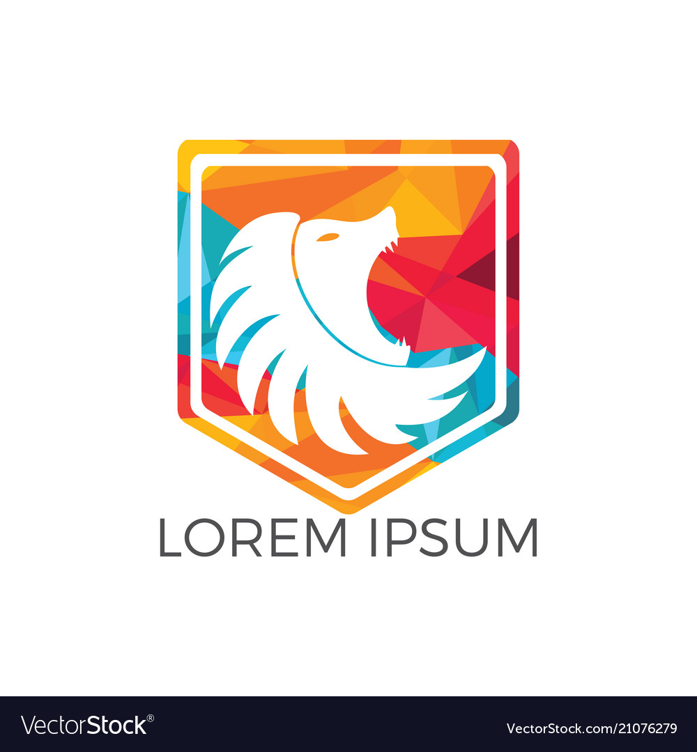 Lion shield logo design template