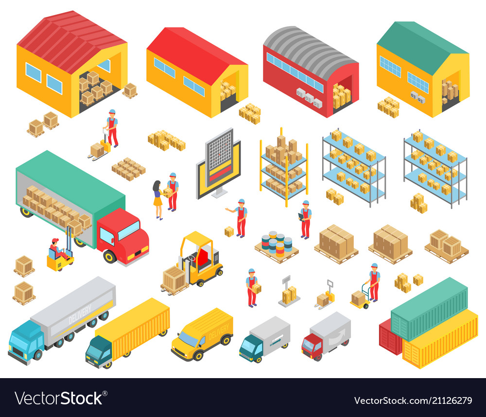 Logistics isometric icons set with cargo trucks