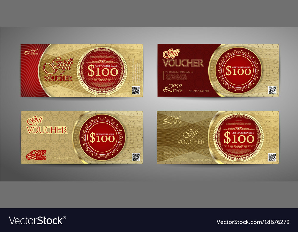 Luxury gift voucher template collection set of
