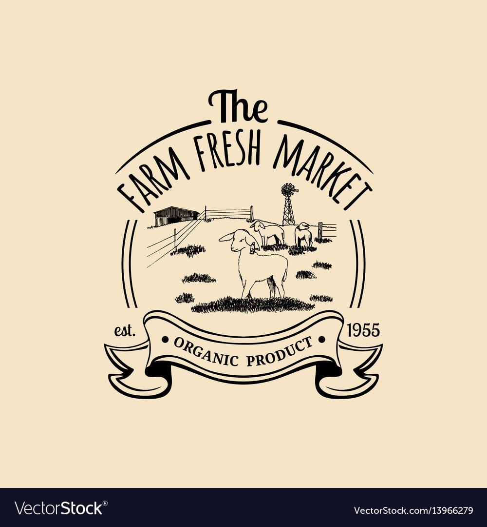 Retro family farm logotype organic premium
