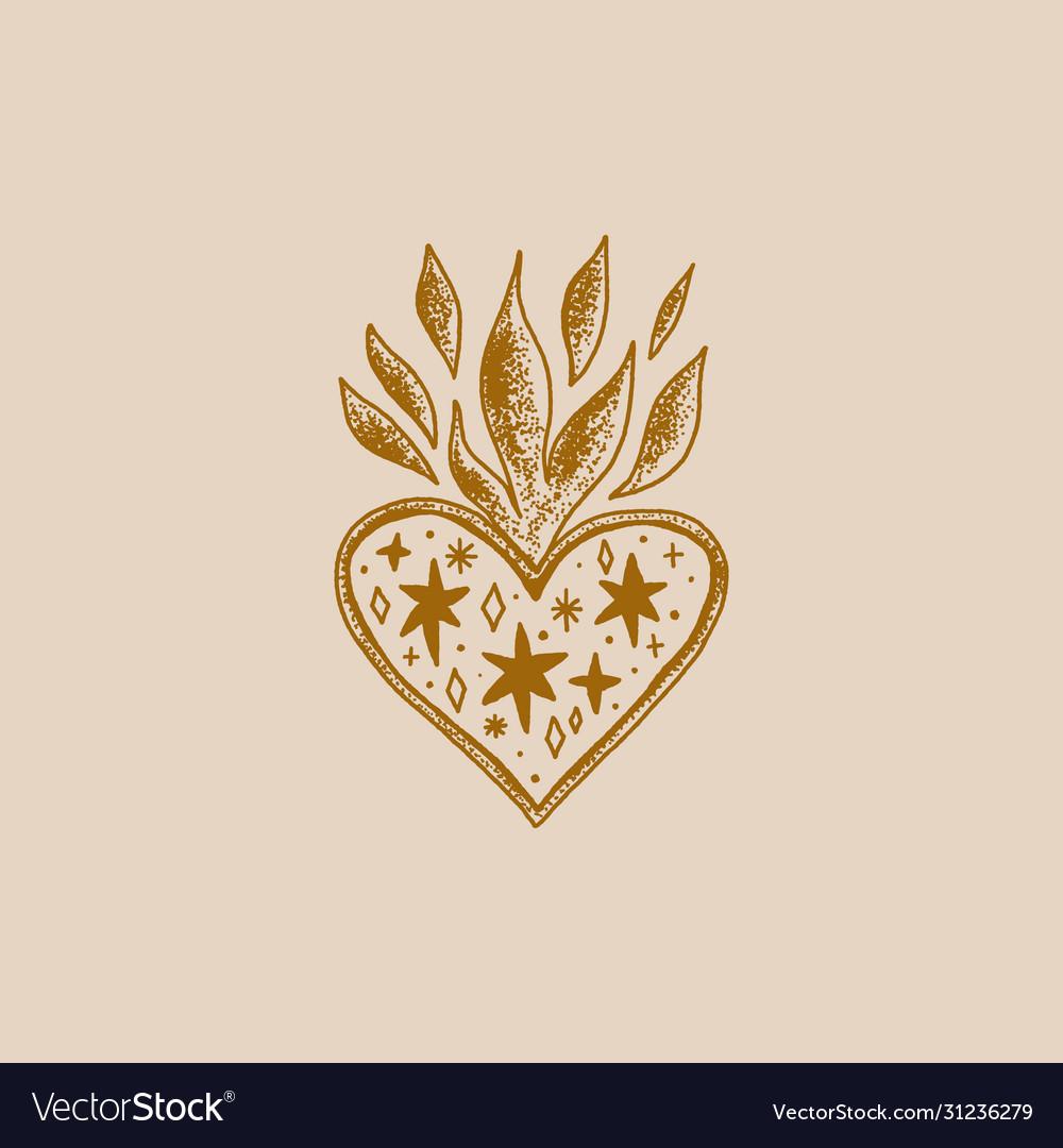 Sacred heart trendy vintage love