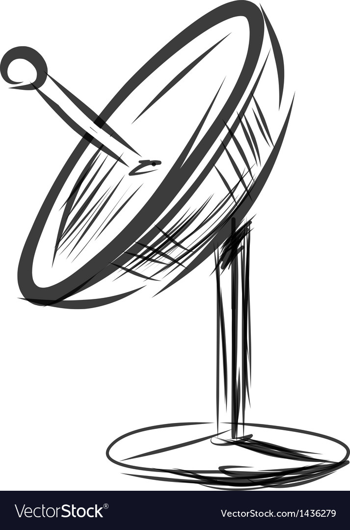 satellite dish sketch royalty free vector image