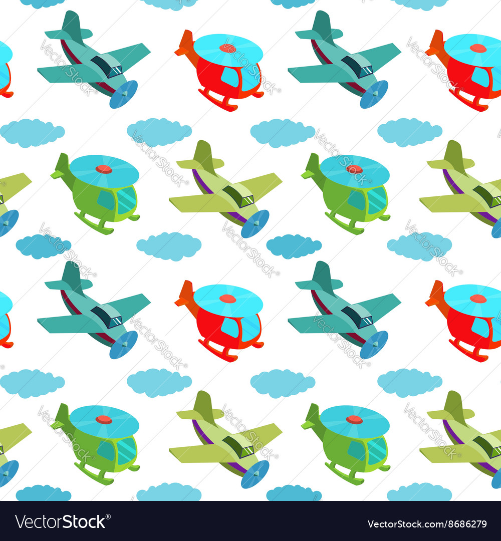 Seamless pattern with cartoon helicopters and