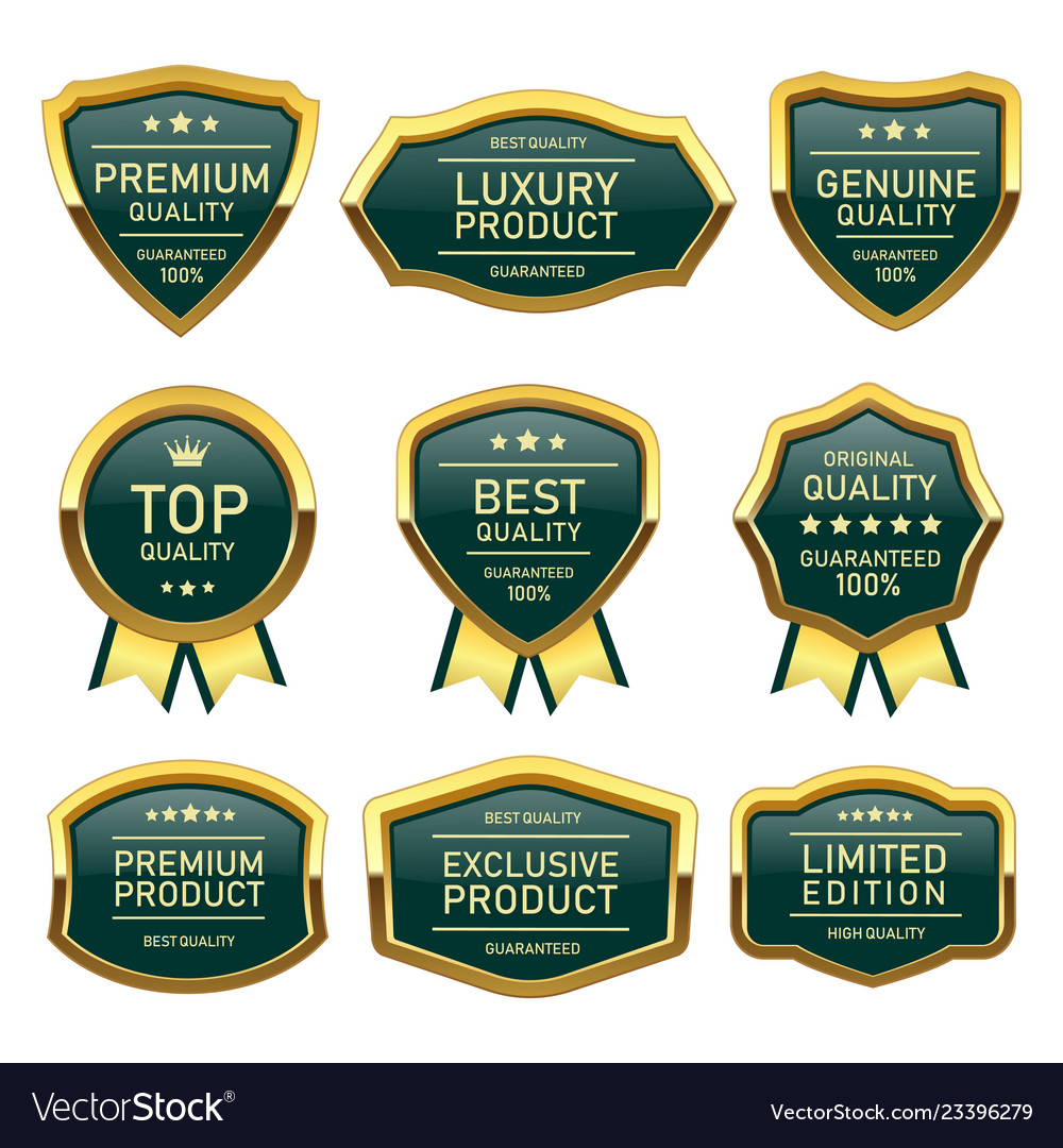 Set of badges seal quality product