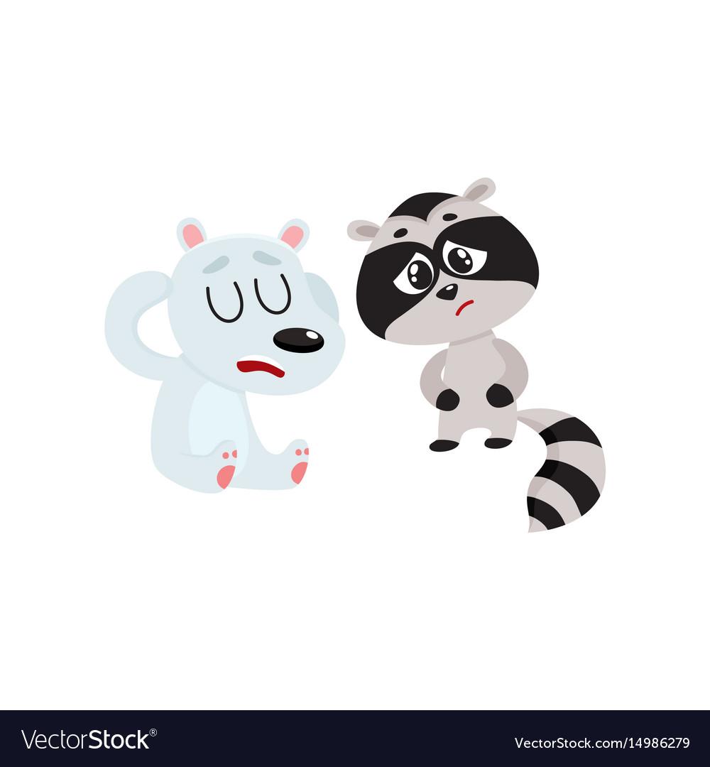 Sick raccoon and bear having headache suffering