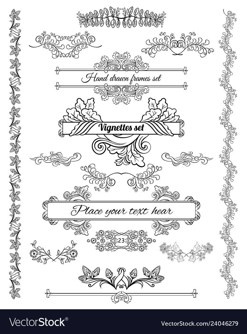 Sketch floral decorative design elements set