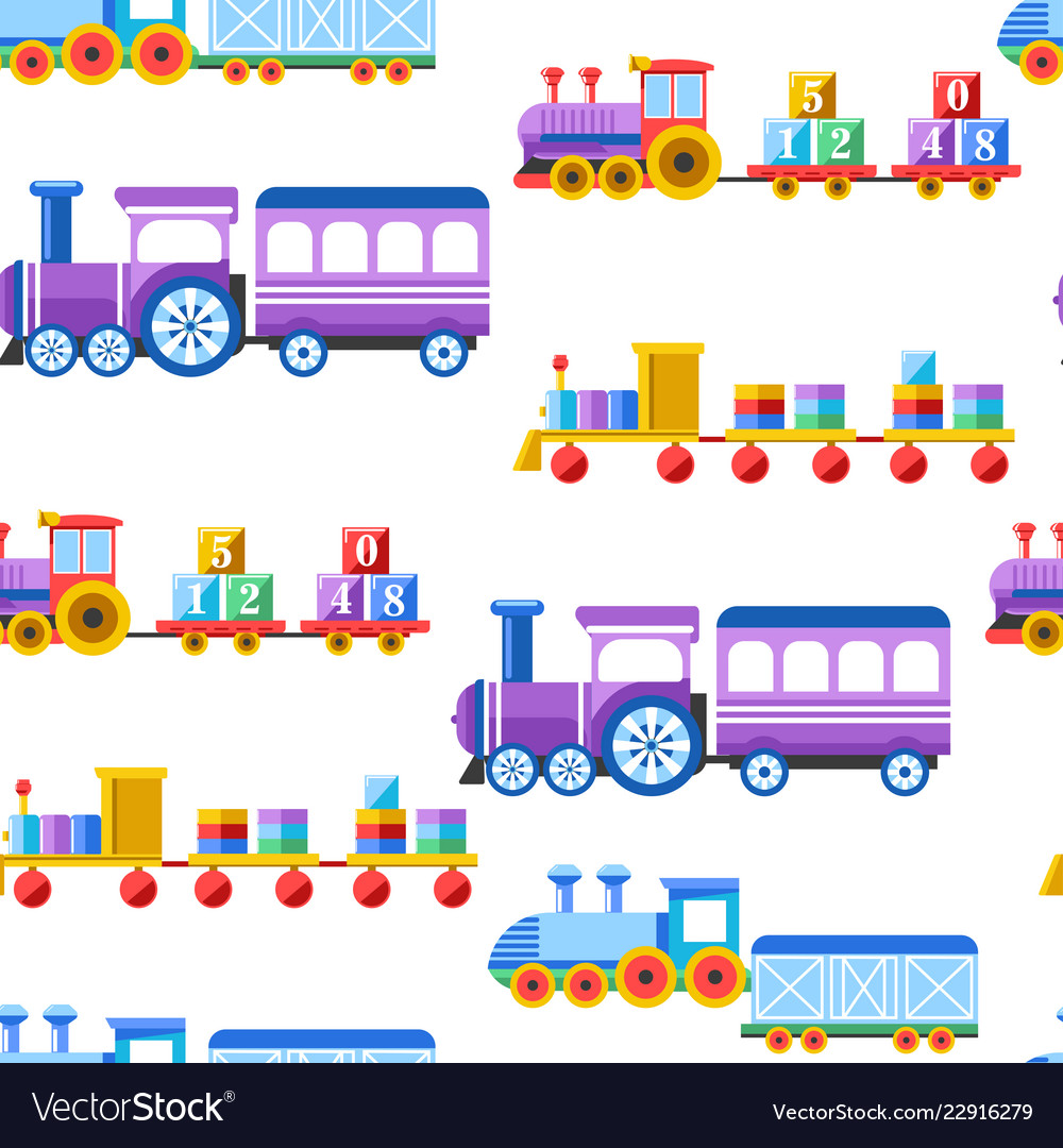 Toy trains with kid toys and children playthings