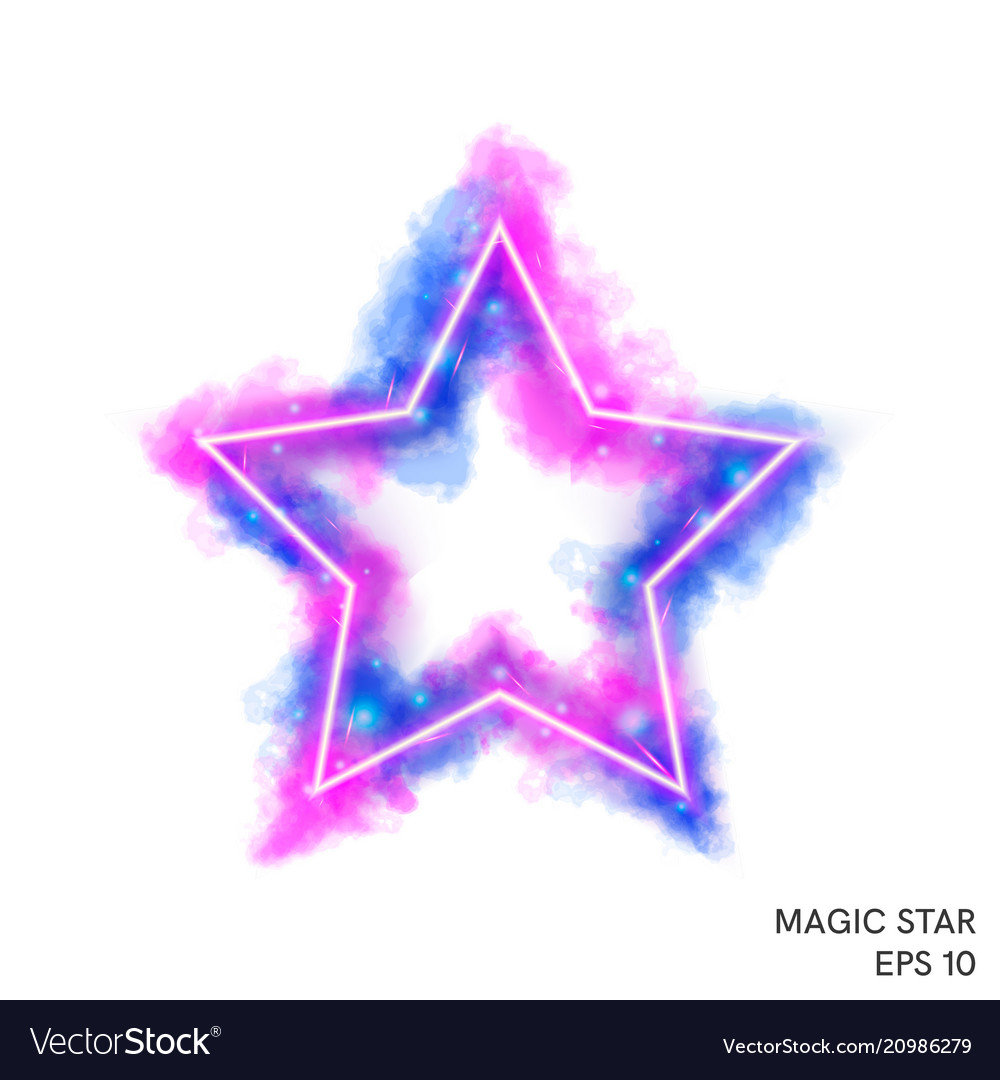 Watercolor magic fire star with neon counter