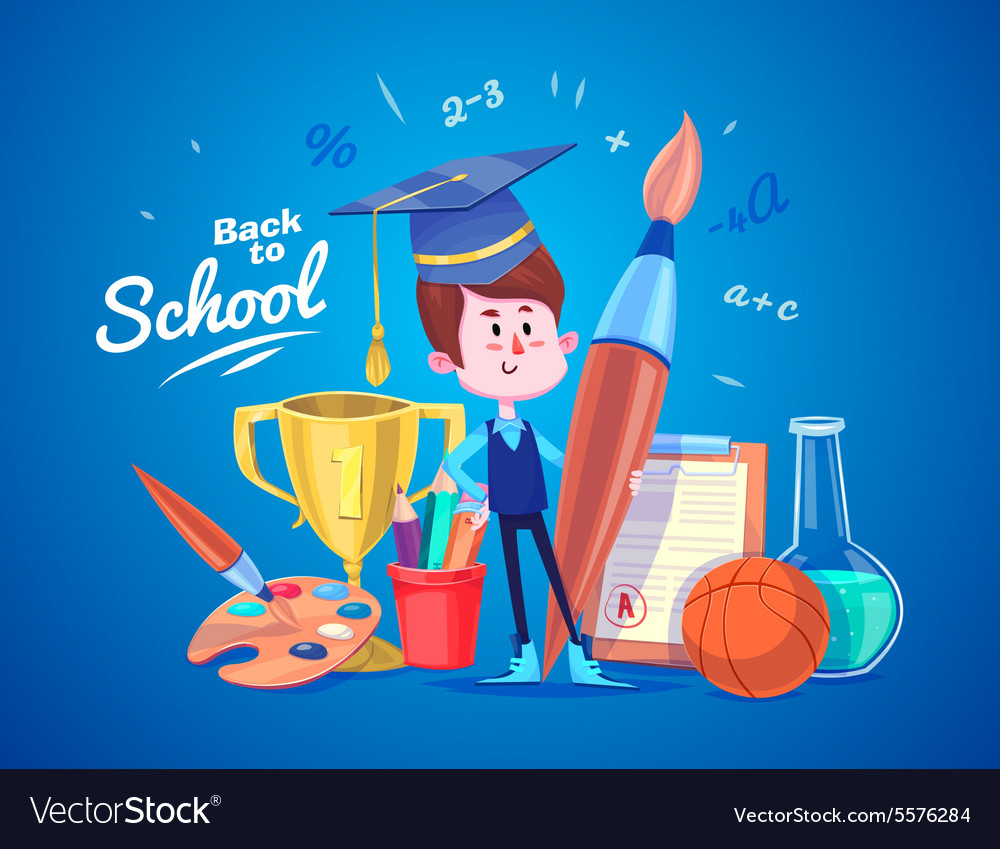 Back to school Cute schoolchild near supplies