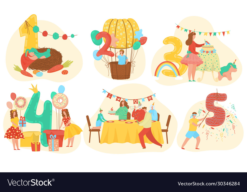 Birthday celebration anniversary numbers with cute