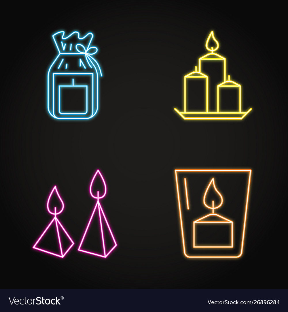 Candles icon set in glowing neon line style
