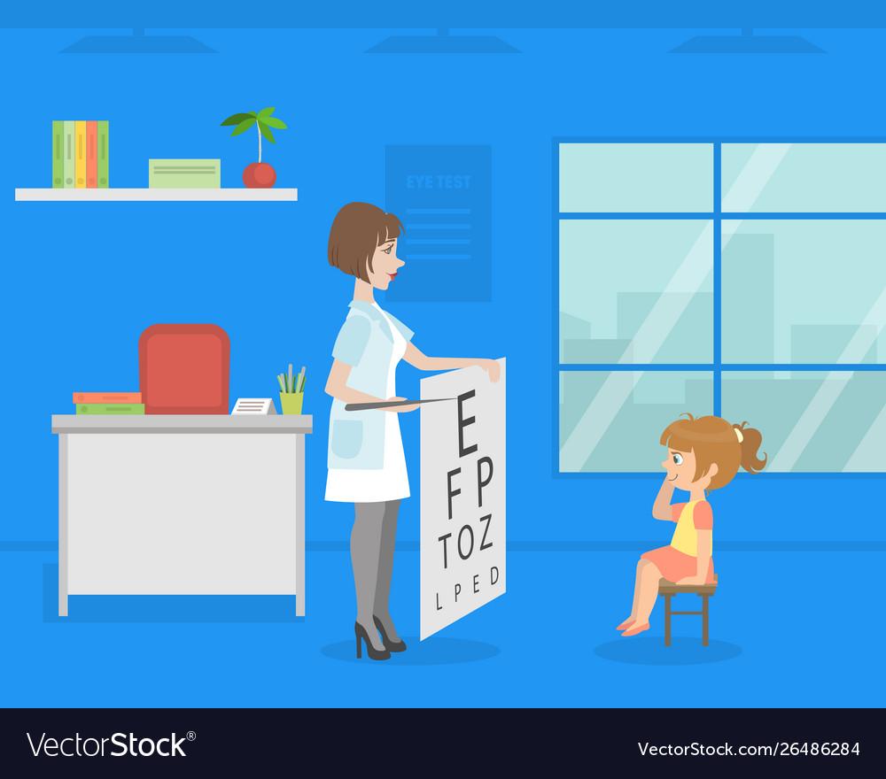Female ophthalmologist doing eyesight test to girl
