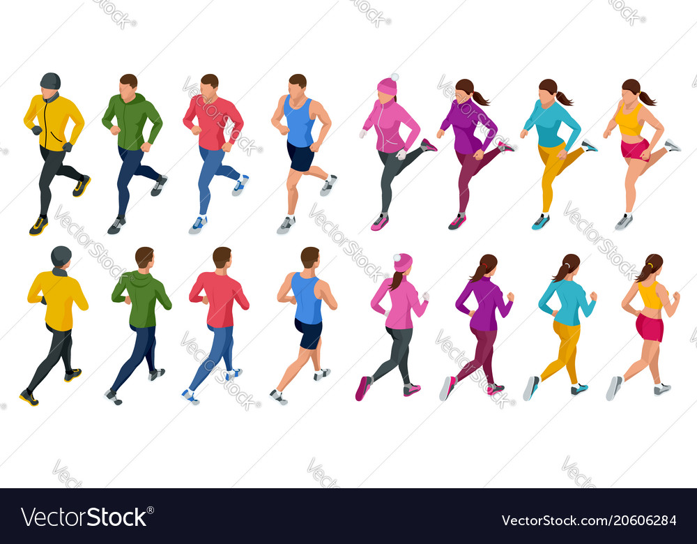 Isometric running people front and rear view