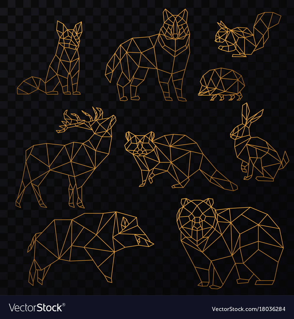 Low poly cgolden line animals set origami