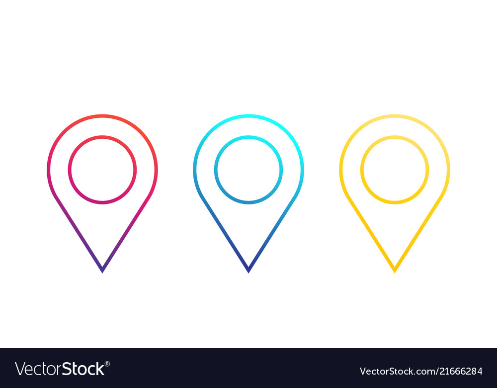 Map pointers location icons linear pins