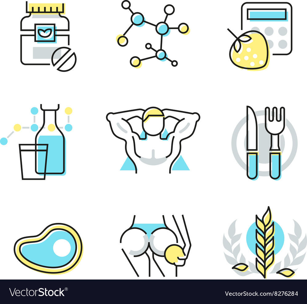 Nutrition and Health Care Icons vector image