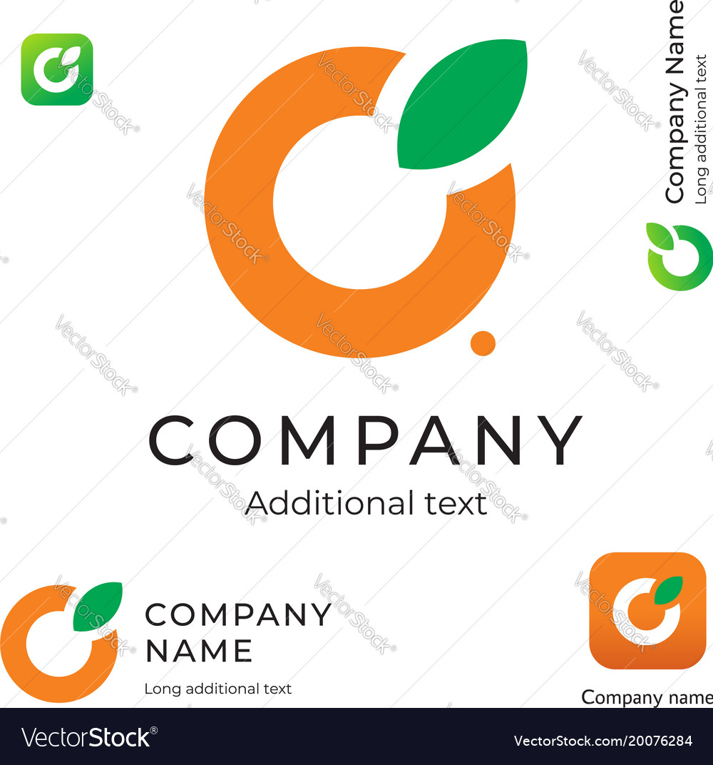 Orange with a leaf logo simple and clean modern