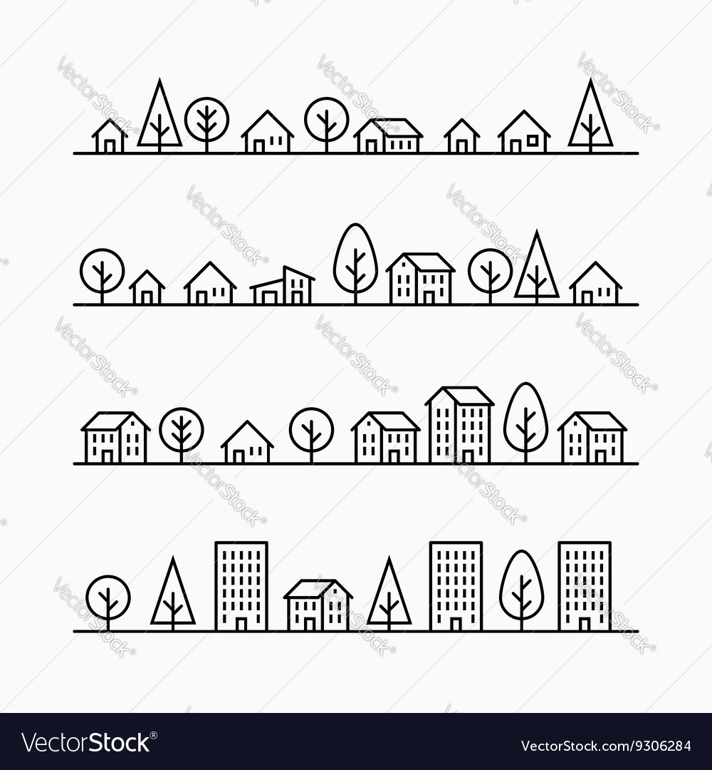 Outline buildings and trees in line 4 different