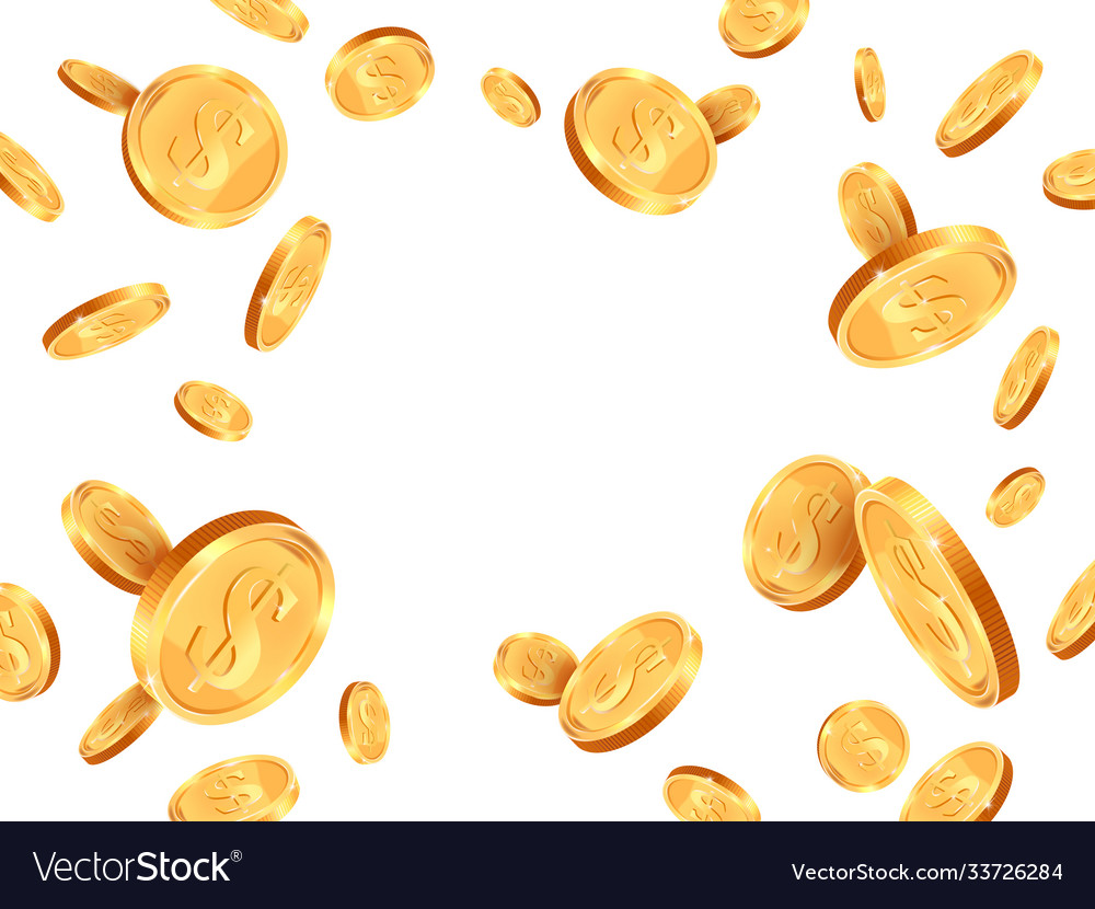Realistic gold coins golden coins explosion