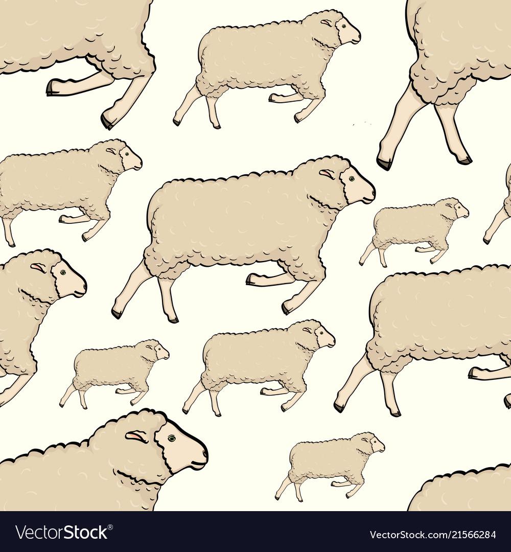 Seamless color cute sheep pattern childish