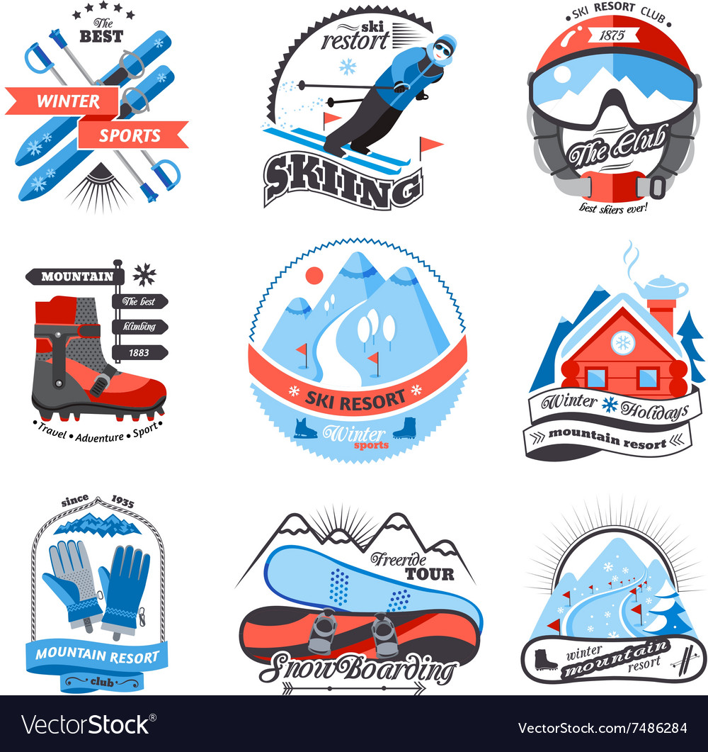 Ski resort emblems set