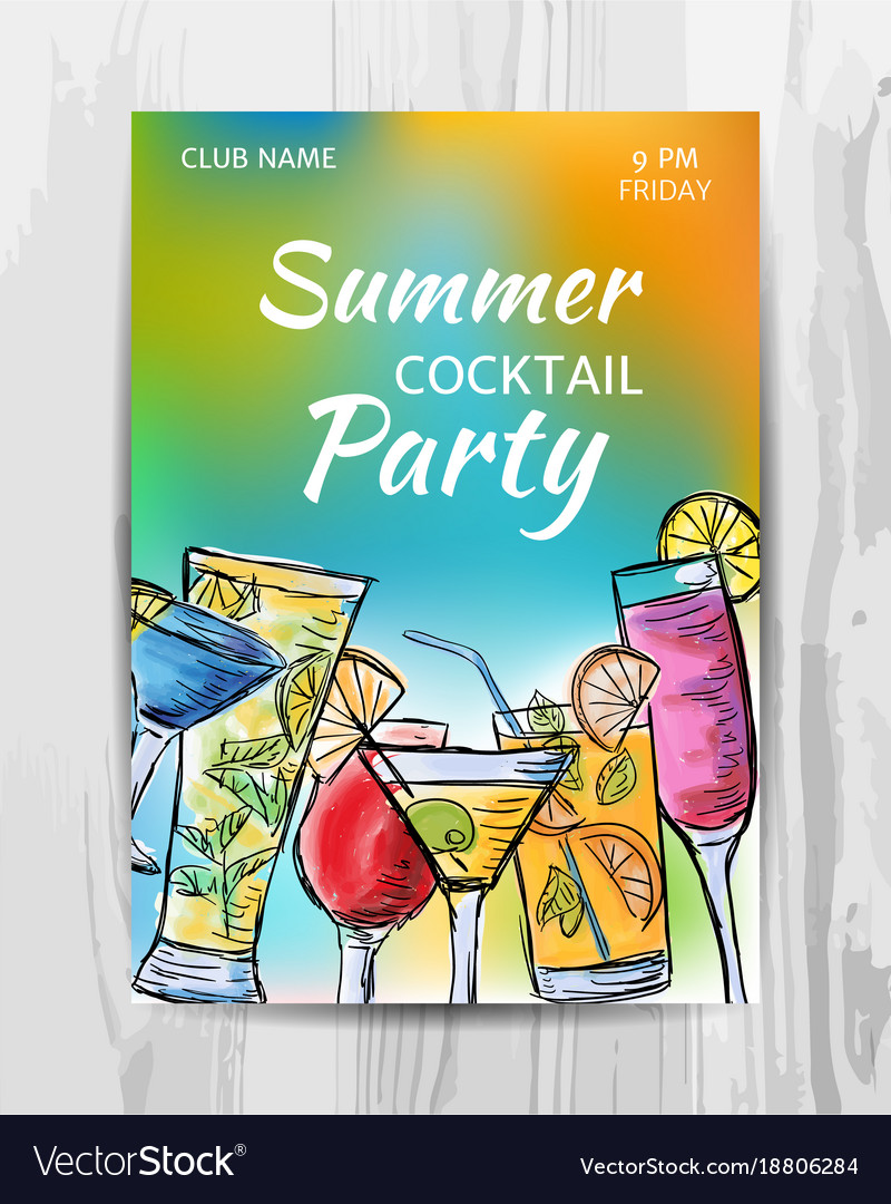 a2b20964ec Summer party invitation card cocktail party flyer
