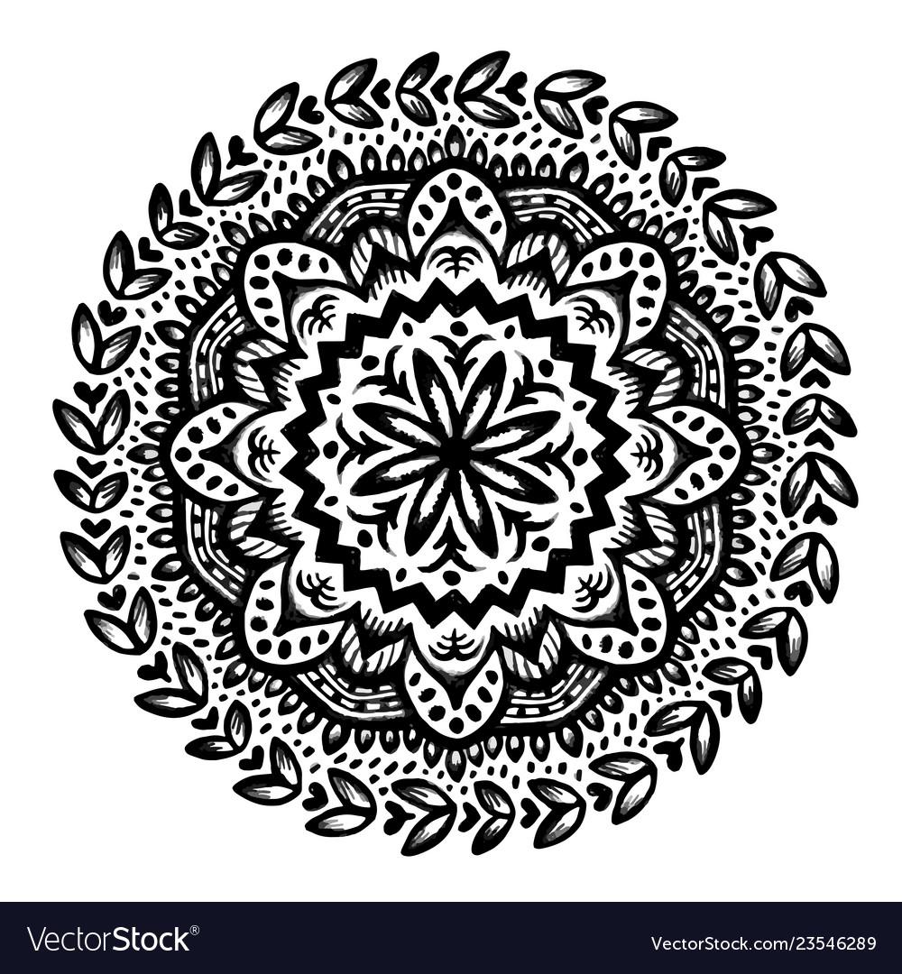 Circle flower mandala hand drawn ornamental round