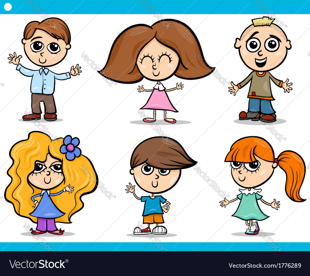 Cute little children cartoon set vector image
