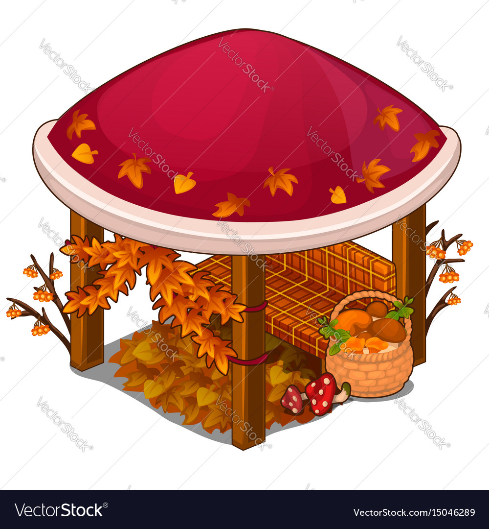 Gazebo with red roof and sofa in autumn style