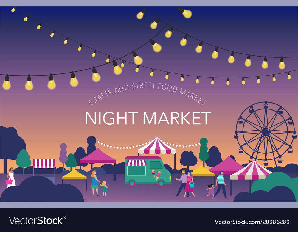 Night market summer fest food street fair vector image